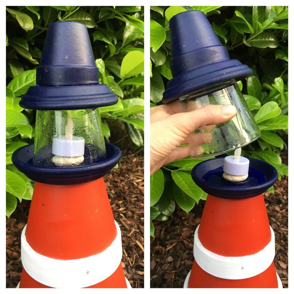 Dann das Teelichtglas auf den kleinsten Untersetzer kleben und oben noch den kleinen blauen Tontopf drauf.