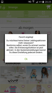 limango App Favoriten anlegen
