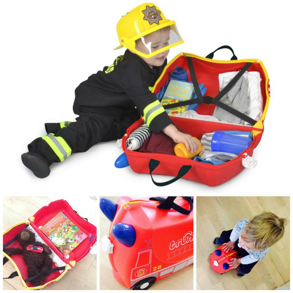 Unsere Jungs haben Feuerwehr-Auto-Trunkis.