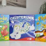 Familienspiele Floh am Po, ZickeZacke Hühnerkacke, Geisteruhr Test Beschreibung