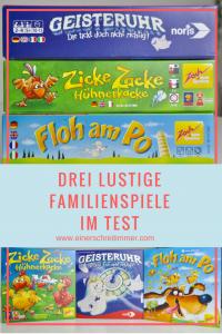 Wir testen 3 lustige Familienspiele: Zicke Zacke Hühnerkacke, Floh am Po & Geisteruhr