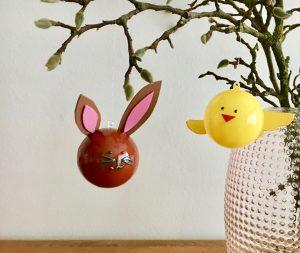 DIY Basteln mit Kindern Ostern Kugelhase und Küken