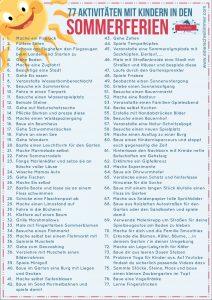 77 Ferienaktivitäten für Kinder - Einerschreitimmer