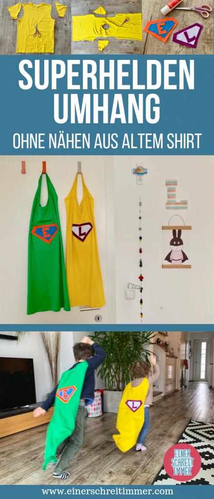 Superheld Umhang aus altem Shirt ohne nähen in 10 Minuten Upcycling