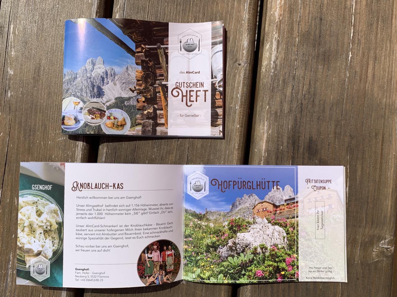 Filzmoos Alpenhof Almen Gutscheinheft